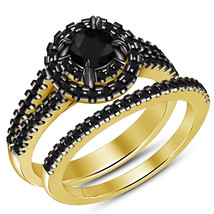 Black Diamond Womens Bridal Ring Set 14k Gold Finish 925 Sterling Solid ... - $87.99