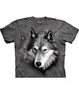 Wolf Portrait Collage Hand Dyed Grey Art T-Shirt, NEW UNWORN - $14.50