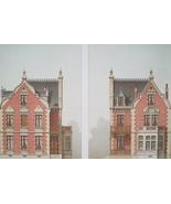 ARCHITECTURE 2 Color Prints - VICTORIAN Brick Villa at Laon-sur-Mer France - $39.60