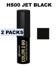 2pcABSOLUTE NEW YORK COLOR 2 GO INSTANT GRAY HAIR TOUCH UP STICK HS00 JET BLACK