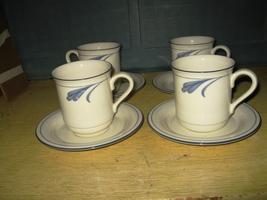 "(4) Lenox Chinastone ""Blue Brushstrokes"" Mugs & Saucer - $15.00"