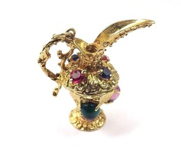 14k Yellow Gold Vintage 3D Pitcher Charm Pendant With Multi Color Stones - $787.75