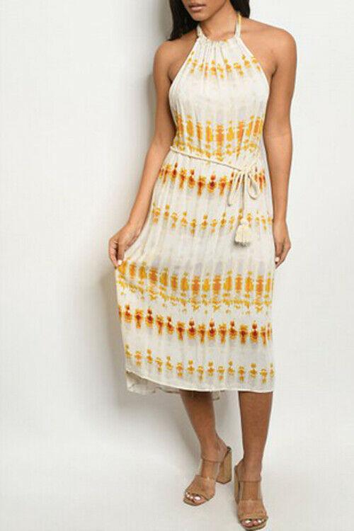 Women Mustard Stripe Dress