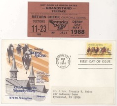 5/7/88 Kentucky Derby Day Ticket Stub & 1974 KY Derby First Day Cover! #... - $11.87