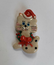 Christmas Cat Brooch Pin Vintage Small Kitten Kitty Holiday - $11.84