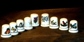 9 Porcelain Thimbles of Birds, Flowers and Butterfly's AB 273a Vintage image 6