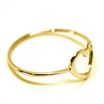 SOLID 18K YELLOW GOLD HEART LOVE RING, 10mm DIAMETER FLAT HEART CENTRAL, SMOOTH image 2