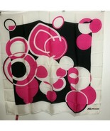 "Anne Klein Pink Black White Polka Dot Silk Scarf 30"" sq Hand-Rolled Hem - $35.77"