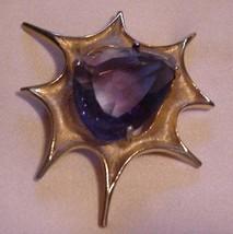"Estate~ Gorgeous Large Geometric BSK Brooch Topaz-color Stone 3"" x 3"" - $59.95"