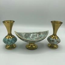 Vintage Mid Century Delft Holland Marbled Ceramic Brass Vase Pair Pedestal Dish - $52.00