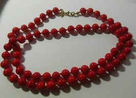 """Vintage MONET Knotted Red Glass Bead Necklace patented,rounded sister clasp 25"""" - $24.50"""