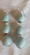 "3""VINTAGE Pale Blue Wrapped 3 Graduated Ball Hook Earrings,Unsigned,Disco,Formal - $4.94"