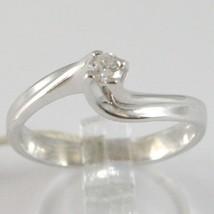 White Gold Ring 750 18k, Solitaire, Braided Cross, Diamond, CT 0.12 image 1