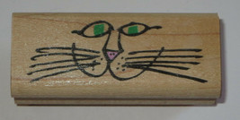 Cat Face Whiskers Rubber Stamp Nose Lips Smile Wood Mounted Pets Kitty K... - $5.44