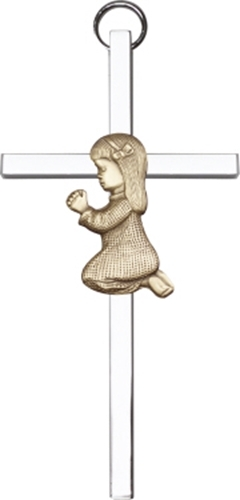 Primary image for Praying Girl - Wall Cross  -  Antique Gold Plated & Polished Silver Plated