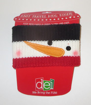 Knit Travel Mug Wrap Snowman Adjustable Closure Winter Coffee Cup Cover New - $9.89