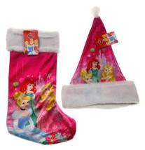 "Disney Princess 18"" Stocking 16"" Christmas Santa Hat Soft Fur Pom Pom - $11.69"
