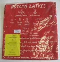 NIP/Vintage Potato Latkes Recipe Red Kitchen Linen Apron Made in Israel - $19.79