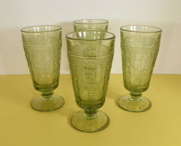 Imperial ZODIAC Green Goblet (s) LOT OF 4 Glass Footed Juice Brandy 5 oz - $17.77
