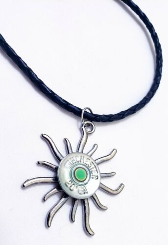 Primary image for 20 gauge necklace green or orange glow in the dark w. leather cord made by ammo