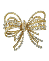 Gold Bow/Butterfly Swarovski Crystal Brooch Pin image 3