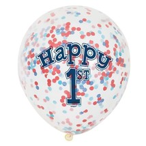 """Nautical 1st Birthday 6 Ct 12"""" Balloons with Confetti - $4.99"""