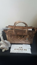 Coach Metallic Rose Gold Patchwork Swagger 27 Carryall Leather - $247.49