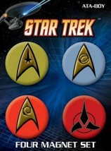 Classic Star Trek TV Series Insignias Round Magnet Carded Set of 4, NEW SEALED - $8.79