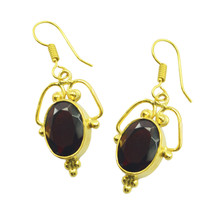 Red Gold Plated Fashion elegant Ruby CZ ordinary Earring UK gift - $14.48