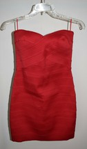 New Express Mini Dress Small Red Strapless Textured Rubber Zip Bodycon - $25.23