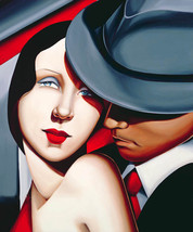 Oil painting Art abstract portrait man with nice girl young lovers On ca... - $32.80