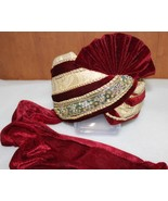 ROYAL-HANDMADE-WEDDING-SAFA-INDIA-GROOM-MEN-PAGRI-PARTY-LARGE-HAT-SF-2384 - $52.47