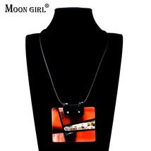 Color Resin Square Necklaces & Pendants Fashion Jewelry Women Trendy Lon... - $16.16