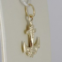 18K YELLOW GOLD ANCHOR ROPE CHARM PENDANT SMOOTH LUMINOUS BRIGHT MADE IN ITALY image 2
