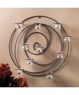 Round HYPNOTIC WALL SCONCE Artistic Circular Tealight Candle Holder - $26.76