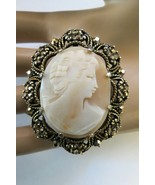 Weiss Cameo Brooch Hand Carved Open Work Frame Golden Marcasite Gold Pla... - $42.56