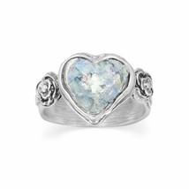 .925 Sterling Silver Roman Glass Heart Women's Ring - $100.94