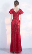 Women Sequin Maxi Dresses Cap Sleeve High Waist Maxi Sequin Dress Gold Red Black image 5