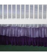 3 Tiered White Lilac Purple Chiffon Ruffled Crib Skirt / Mini Crib Skirt - $41.99+