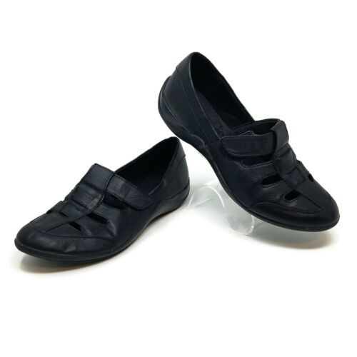 Lifestride McClellan Black Faux Leather Slip On Loafers Shoes Womens 8 W - $18.76