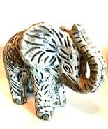 Elephant Figurine Signed Mexico Unique Heavy Statue White Wash 8 inches ... - $68.30