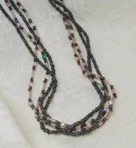 Premier Designs Seed Bead Necklace Glass Multi-Strand Gunmetal Grey Pink... - $14.84