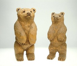 "Handcarved wood brown bear carvings whittled ...Signed  ""EC"" - $38.61"