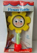 Vtg Fisher Price Baby Flower Rattle 70s Peek-a-Boo Mirror Box 1977 70s T... - $34.55