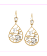 INC INTERNATIONAL CONCEPTS Gold Web Teardrop Dangle Earrings Rhinestones... - $5.73