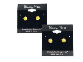 Bianca Stone November Birthstone Stud Earrings With Crystals Made By Swa... - $9.99