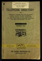 March 1953 Bellefontaine Ohio United Telephone Directory With Yellow Pages - $18.95