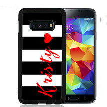 Personalized Case Fits Samsung Galaxy S10 S9 S8 S7 Black Stripes Red Heart - $13.98
