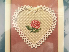 """Vintage Sunset Counted Cross Stitch Kit Lattice Rose With Heart Shaped Mat 5x7""""  - $9.89"""