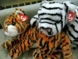 Ty Beanie Buddies Baby India the Striped Tiger & White Tiger Mint w/Tags... - $25.21